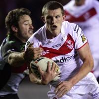 Lee Gaskell (centre) booted the winner for St Helens with a minute to spare