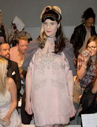 Singer Kate Nash arrives to watch the Bora Aksu Spring/Summer 2013 collection show during London Fashion Week, Friday, Sept. 14, 2012. (AP Photo/Joel Ryan)