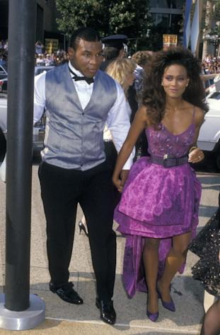 Mike Tyson and Robin Givens attend 40th Annual Primetime Emmy Awards at the Pasadena Civic Auditorium, Pasadena, on August 28, 1988 -- Getty Images