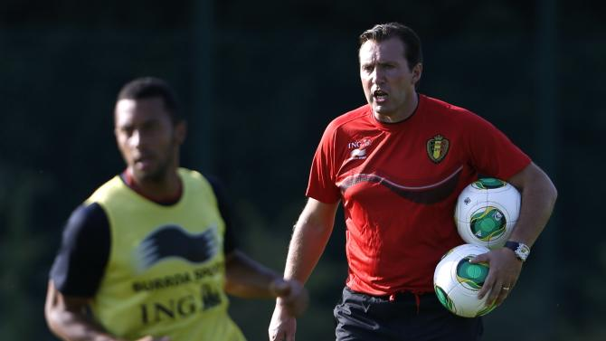 Belgium national soccer team coach Wilmots gives instructions during a training session in Brussels