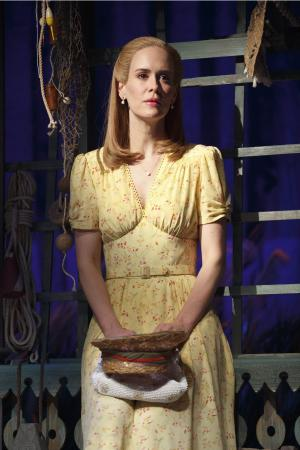 "This theater image released by Polk & Co. shows Sarah Paulson during a performance of Lanford Wilson's Pulitzer Prize-winning ""Talley's Folly,"" in New York. Set on the 4th of July near the end of World War II, ""Talley's Folly"" is the story of an unlikely middle-age romance between two people trying to overcome their emotional baggage and find love. (AP Photo/Polk & Co., Joan Marcus)"