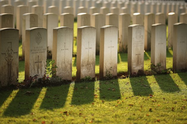 Graves at Sanctuary Wood Military Cemetery in Ypres, Belgium.