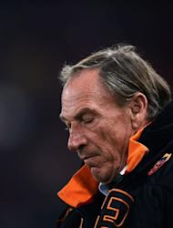 AS Roma coach Zdenek Zeman reacts during their match against Cagliari at Rome's Olympic Stadium on Febuary 1, 2013. Zeman's future as coach of AS Roma was placed in further doubt Friday after the Serie A side suffered a 4-2 reverse at home to lowly Cagliari for their fifth straight game without a win
