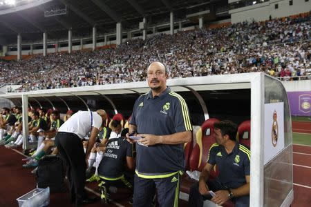 Real Madrid's coach Rafael Benitez awaits International Champions Cup football match against Inter Milan at Tianhe Stadium in southern Chinese city of Guangzhou, China