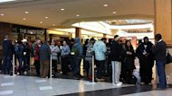 More than 200 people waited in line at Polo Park Shopping Centre in Winnipeg for the launch of the Apple iPhone on Friday.