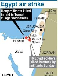 Map of Egypt's Sinai, where at least 20 militants were killed in a helicopter strike Wednesday. Gunfire broke out Thursday in the Sinai town of El-Arish, reports said, as tensions simmered after the Egyptian authorities vowed to crush a surge in Islamist militancy in the tense peninsula