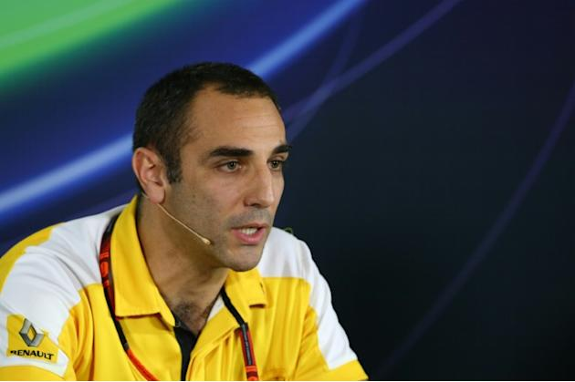 Renault Sport F1 Managing director Cyril Abiteboul sits during a press conference at the Yas Marina circuit in Abu Dhabi on November 27, 2015 ahead of the Abu Dhabi Formula One Grand Prix