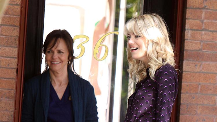 "Emma Stone and Sally Field at ""The Amazing Spider-Man 2"" set in NYC"