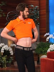 Andrew Garfield dances on 'The Ellen DeGeneres Show' on November 13, 2012 -- Michael Rozman/ Warner Bros