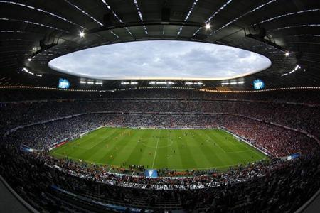 The Allianz Arena is seen in Munich before the start of a soccer match, May 19, 2012.
