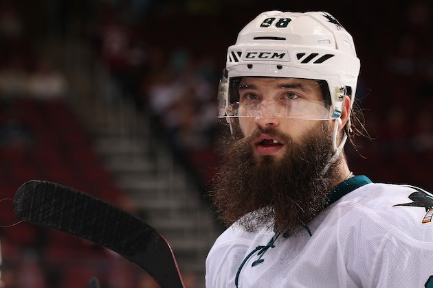 GLENDALE, AZ - OCTOBER 07: Brent Burns #88 of the San Jose Sharks during the preseason NHL game against Arizona Coyotes at Gila River Arena on October 7, 2016 in Glendale, Arizona. The Coyotes defeated the Sharks 3-1 (Photo by Christian Petersen/Getty Images)