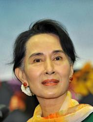 "Myanmar's opposition leader Aung San Suu Kyi speaks during a meeting with Myanmar people living in South Korea, in Seoul on February 1, 2013. Archbishop Desmond Tutu said Tuesday he hoped to see a ""truly free"" Myanmar as he met fellow Nobel Peace Prize winner Aung San Suu Kyi during a visit to the former junta-ruled nation"