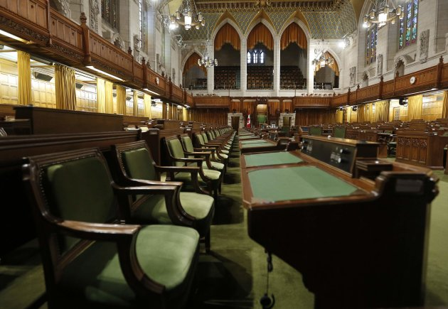 Desks are pictured in the House of Commons on Parliament Hill in Ottawa September 12, 2014. (Reuters)