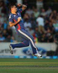 England's Jade Dernbach bowls against New Zealand during the International Twenty20 cricket match at Snedden Park in Hamilton on Febuary 12, 2013. New Zealand captain Brendon McCullum inspired his team to a crushing 55-run win over England in the second Twenty20 international in Hamilton on Tuesday, levelling the series 1-1