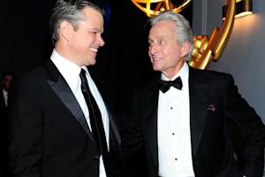 Michael Douglas Offers to Split Emmy With Matt Damon: 'You Want Top or Bottom?'