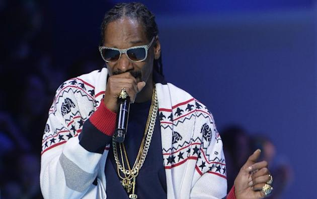American rapper Snoop Dogg performs during a Paris Fashion Week show on March 3, 2015