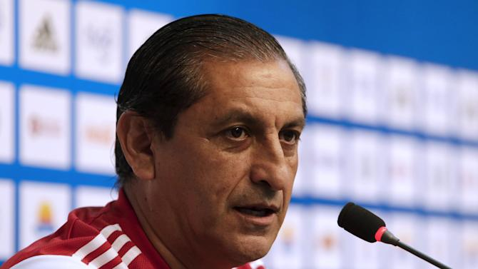 Paraguay's national soccer coach Argentine Diaz speaks during a news conference in Asuncion
