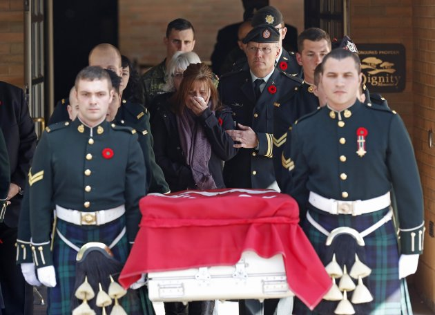 Kathy Cirillo, the mother of Cpl. Nathan Cirillo, reacts while following pallbearers. (Reuters)