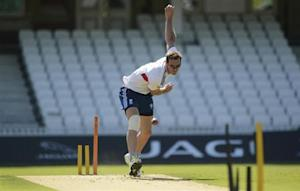 England's Tremlett bowls during a training session before Wednesday's fifth Ashes cricket test match against Australia at The Oval cricket ground, London