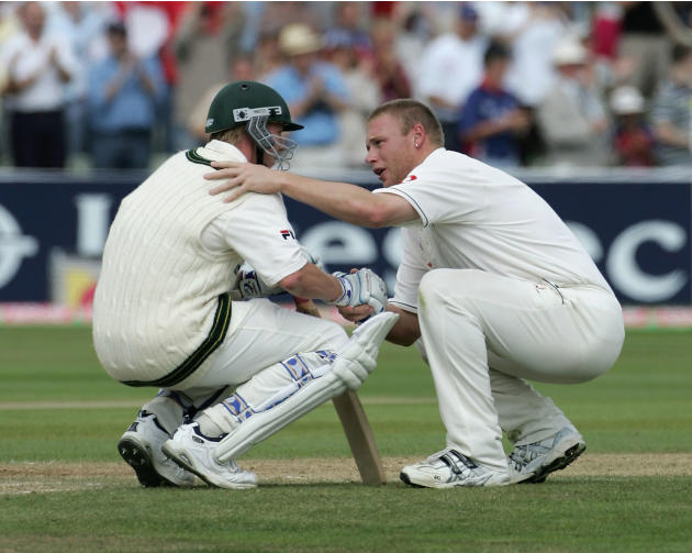 Brett Lee and Andrew Flintoff