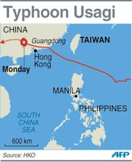 Graphic showing the path of Typhoon Usagi, which left at least 25 people dead in southern China's Guangdong province, state media reported
