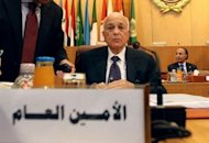 Arab League Secretary General Nabil al-Arabi (C) chairs an emergency meeting with Arab League foreign ministers, at the headquarters in Cairo, to discuss the political situation in Syria. Arabi called for observers to be deployed rapidly