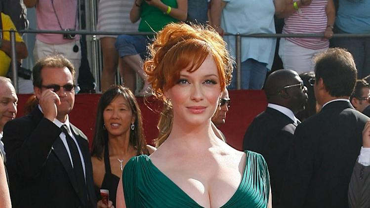 "Christina Hendricks (""Mad Men"") on the red carpet at the 60th Annual Primetime Emmy Awards."