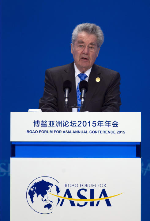 Austrian President Heinz Fischer speaks at the Boao Forum for Asia in Boao on southern China's Hainan Island, Saturday, March 28, 2015. Chinese President Xi Jinping argued Saturday for strong Chin