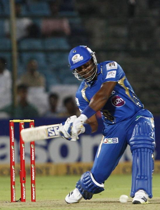 MI batsman Dwayne Smith in action during the match between Lions and Mumbai Indians at Sawai Mansingh Stadium, Jaipur on Sept. 27, 2013.(Photo: IANS)