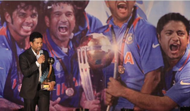 Indian Cricketer Sachin Tendulkar speaks after receiving the Polly Umrigar Award for being India's best cricketer of 2009-10, during the BCCI (Board for Control of Cricket in India) Award ceremony