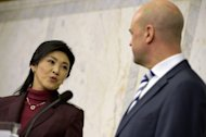 "Thailand's Prime Minister Yingluck Shinawatra and her Swedish counterpart Fredrik Reinfeldt address a joint press conference in Stockholm, on March 4, 2013. Yingluck said during a visit to Stockholm that she ""sometimes"" thinks like her brother, the controversial and exiled former premier Thaksin Shinawatra"