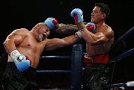 World Cup-winning ex-All Black Sonny Bill Williams (R) and Frans Botha of South Africa exchange blows during their WBA international heavyweight title fight at the Brisbane Entertainment Centre in Australia, on February 8, 2013. Williams added another crown to his career after beating veteran boxer Botha