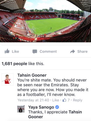 Yaya Sanogo Responds to Troll Claiming to Be an Arsenal 'Fan'