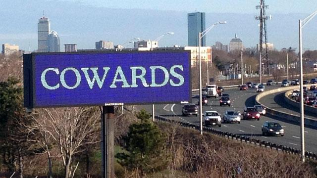 'Cowards' Billboard Lights Up Boston Skyline in Wake of Blasts