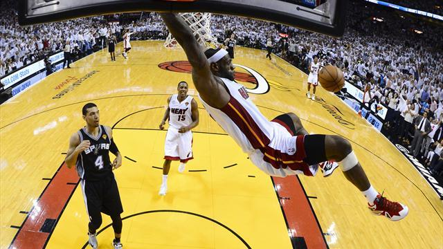 Basketball - Heat smash Spurs in Miami to square NBA Finals