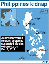 Graphic showing the area in southern Philippines where Australia Warren Rodwell was kidnapped on December 5, 2011 by suspected Muslim extremists