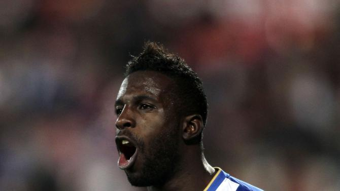 Porto's Silvestre Varela celebrates his goal against Gil Vicente during their Portuguese Premier League soccer match in Barcelos