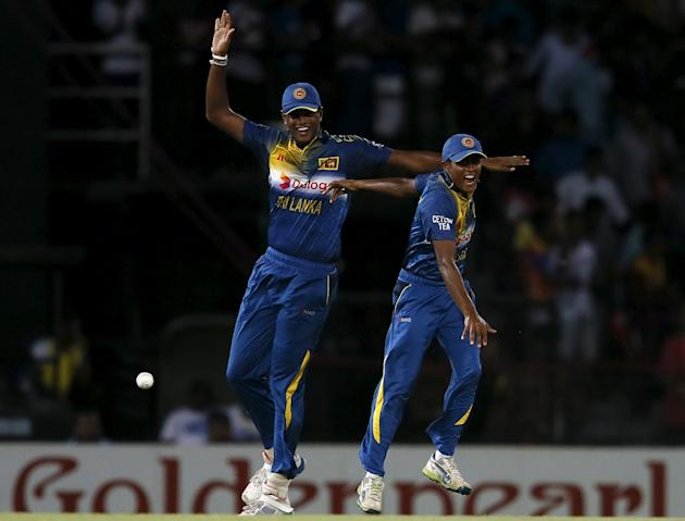 Sri Lanka's Vandersay celebrates with his teammate Fernando after taking the catch to dismiss Pakistan's Ahmed during their first Twenty 20 cricket match in Colombo