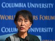 Myanmar's Aung San Suu Kyi speaks in Low Memorial Library at Columbia University in New York. Suu Kyi expressed a desire Saturday to see her country complete its transition to democracy and become a nation of hope