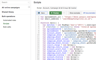 Adwords Script to Track Quality Score on Account, Campaign & Ad Group Level image Screen Shot 2013 04 09 at 22.46.32