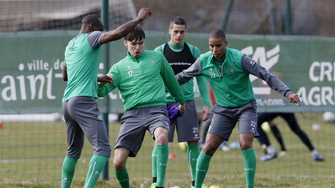 St Etienne's Ole Selnaes and Kevin Monnet-Paquet during training