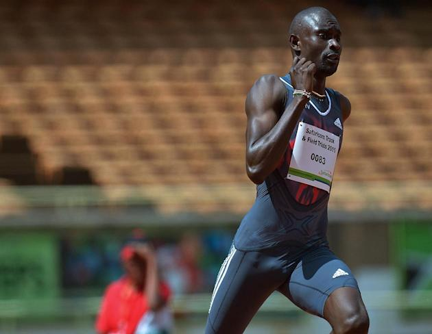 World record holder 'King' David Rudisha sprints during the 800 m race of the Kenyan Trials for the Workd Championships, in Nairobi on July 31, 2015