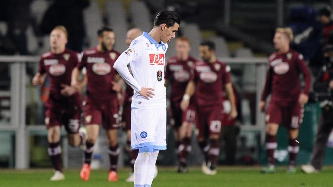 Napoli's Callejon reacts after Torino's Glik scored during their Italian Serie A soccer match in Turin