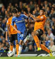 Lucas Piazon (L) in action for Chelsea against Wolves in the third round of the League Cup on September 25, 2012. The reserve midfielder started in both previous rounds but may have talked himself out of the Leeds game by questioning his team-mates' desire on Sunday
