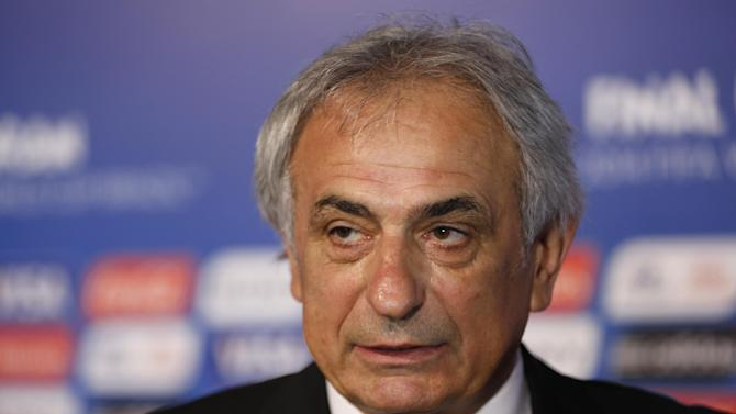 Algeria head coach Vahid Halilhodzic from Bosnia answers journalists' questions after   the draw ceremony for the 2014 soccer World Cup in Costa do Sauipe near Salvador, Brazil, Friday, Dec. 6, 2013