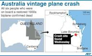 Graphic showing the site in Australia where a vintage plane crashed after going missing on Monday. All six on board have been confirmed dead