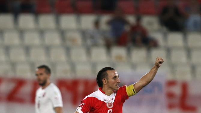Malta's Mifsud celebrates scoring a goal against the Czech Republic during their 2014 World Cup qualifying soccer match at the National Stadium in Ta' Qali