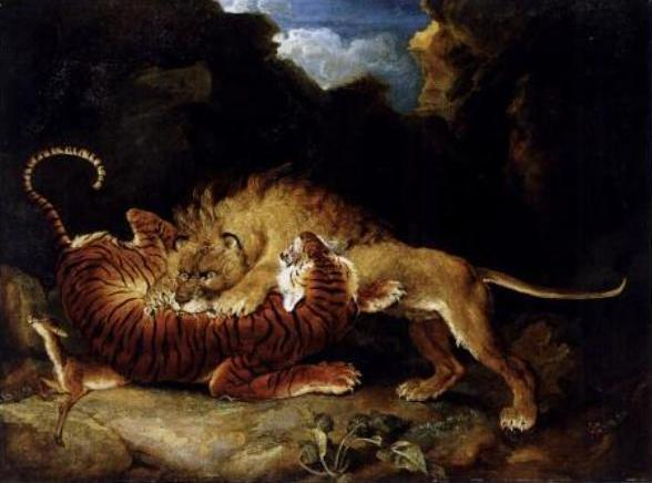 """""""Lion and Tiger Fighting"""" by James Ward, 1797."""