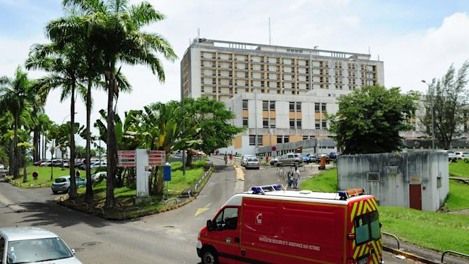 An outside view of the hospital where French singer Johnny Hallyday is hospitalized in Pointe a Pitre, Guadeloupe, French Antilles, Monday, Aug. 27, 2012. Johnny Hallyday, the French entertainer famed for his Elvis-like style and gravelly voice, was hospitalized for a severe case of bronchitis, his producer said Monday. (AP Photo/Dominique Chomereau-Lamotte)