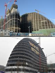 Zaha Hadid's Wangjing SOHO building in Beijing (top), and the Meiquan 22nd Century building (below) in Chongqing. Already famed for fake designer bags and pirated DVDs, imitation in China may have reached new heights with a set of towers that strongly resemble ones designed by renowned architect Hadid